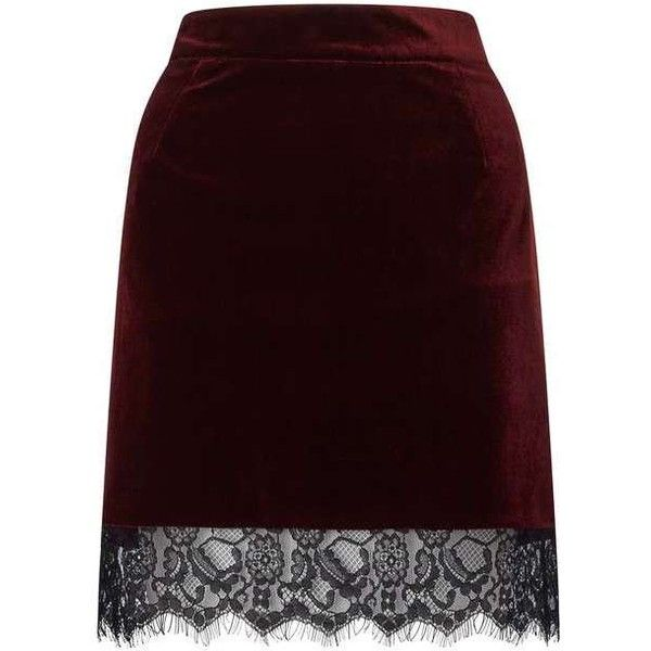 Red Velvet Lace Hem Skirt (2.815 RUB) ❤ liked on Polyvore featuring skirts, knee length lace skirt, lace skirt, purple lace skirt, miss selfridge and red skirt