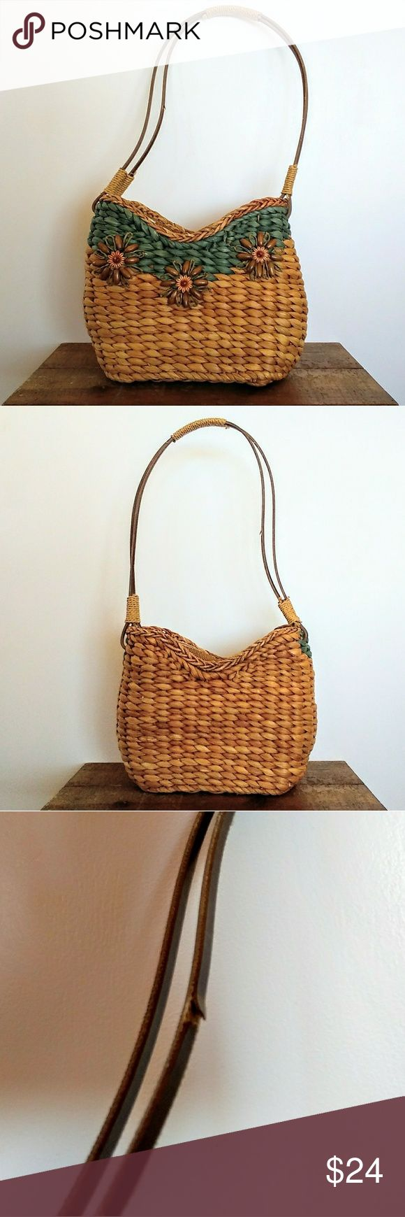 Sun N Sand Small Woven Straw Basket Bag Great summer bag from Sun N Sand. Woven straw body with beaded flower detail on the front and tan cotton lining. Top zip closure with a small zip and a small open pocket inside. Excellent condition with a few small loose threads and straw strands, and one crack in the plastic coating on the strap (last pic).  Height: 7.5 inches Length: 8 inches Depth: 3.5 inches Strap drop: 12 inches Sun N Sand Bags Shoulder Bags