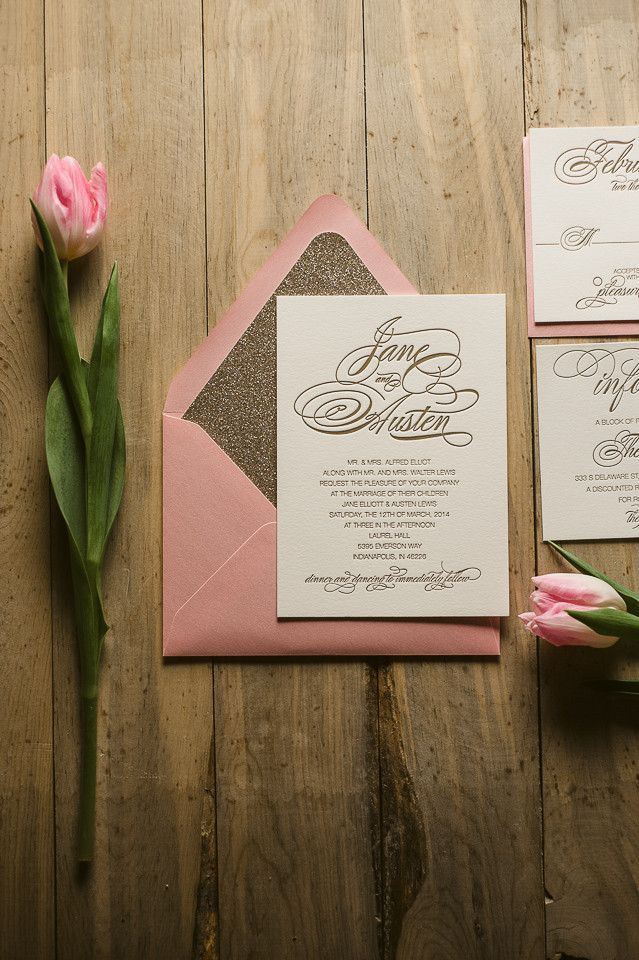 pink and gold wedding invitation kits%0A Suite Glitter Package  pink and gold glitter wedding invitations
