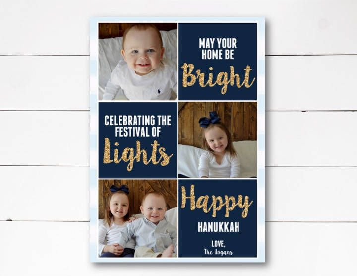 Festival of Lights Photo Card, Hanukkah Photo Card, Holiday Photo Card, Hanukkah Card, Hanukkah, Photo Card, DIY or Printed by NOLALOULOU on Etsy