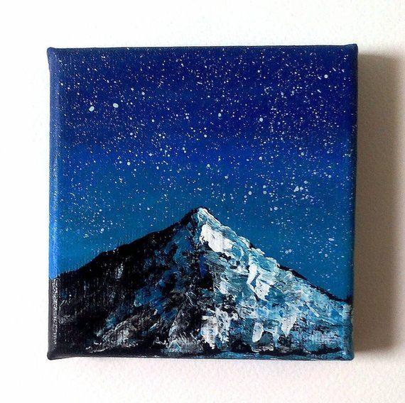 Peinture Miniature Ciel Etoile Et Montagne Acrylique Sur Toile