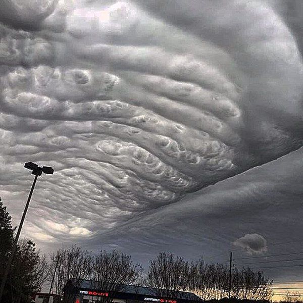 The sky of Alabama was full of wavy undulatus asperatus clouds as a mixture of sleet, snow and rain moved into the region on March 3 2016.