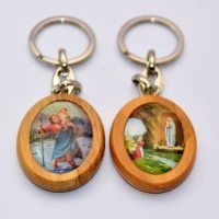 St.Christopher & Lourdes Apparition Keyring.