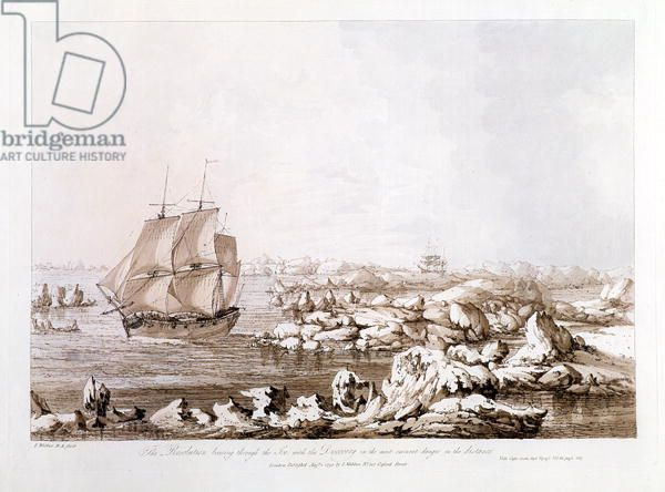 The Resolution Beating Through the Ice with the Discovery in the most Imminent Danger in the Distance, from 'Views in the South Seas', pub. 1792 (etching)