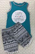 Girls Happy Summer Tank Top w/ Matching Shorts Set