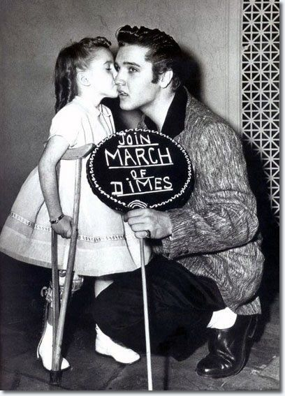 January 6, 1957 : Elvis Presley with Joanne Wilson, New York City's March of Dimes Poster Girl '56.
