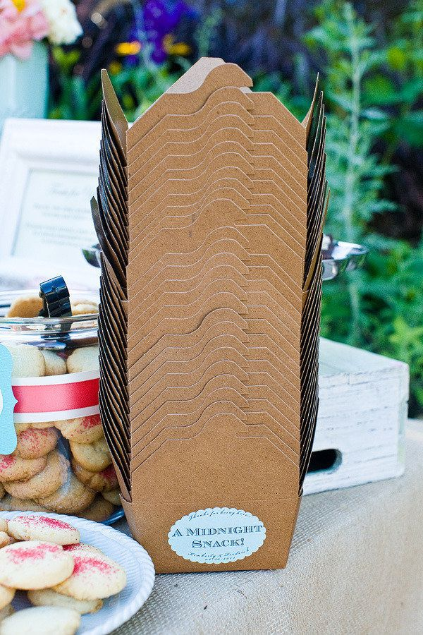 "love these ""midnight snack"" boxes placed on a treats table for guests ."