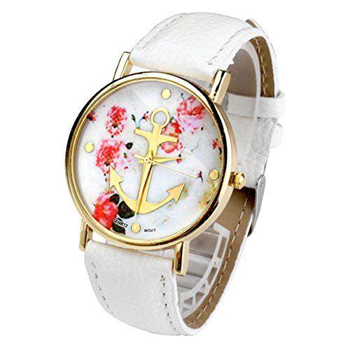 JS Direct Uhren,Vintage Retro Blume Damen Armbanduhr Basel-Stil Anker Blumen Leather Quarz uhr Lederarmband Uhr Top Watch,weiß