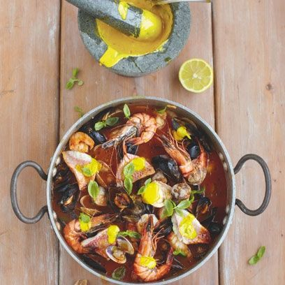 Jamie Oliver's Flashy Fish Stew with garlic bread. For the full recipe, click the picture or visit Redonline.co.uk