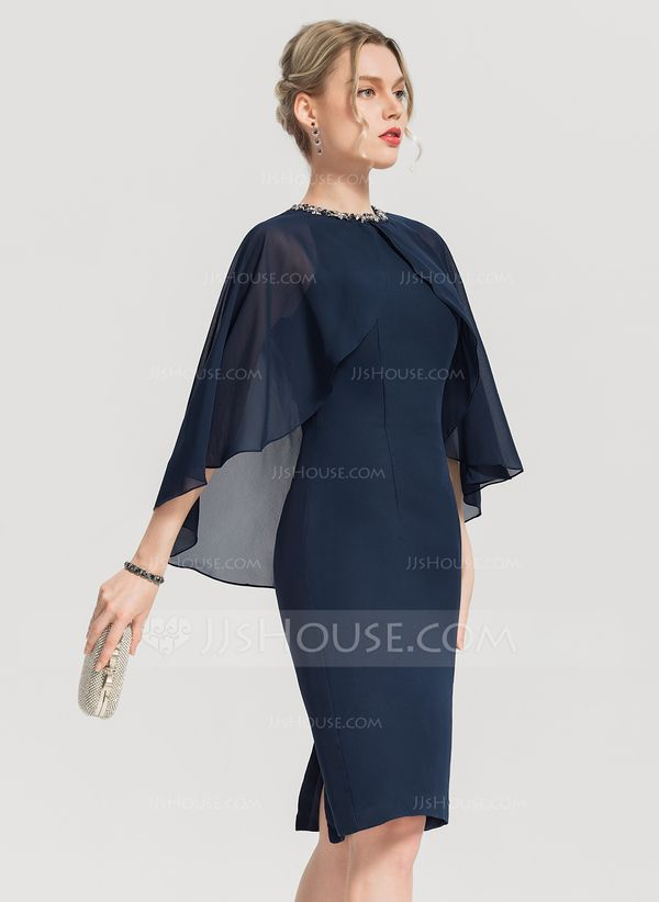 JJsHouse Sheath/Column Scoop Neck Knee-Length Chiffon Cocktail Dress With Beading Sequins