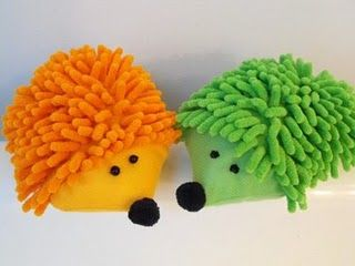 hedgehog out of a car wash mitt from the dollar store