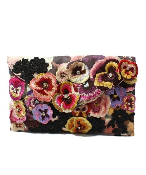 All Over Pansy & Lace Envelope Clutch