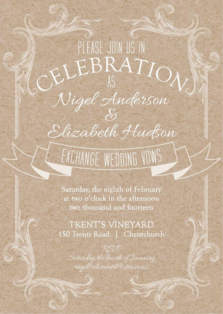 Nigel & Elizabeth's Invite - www.chicdesign.co.nz