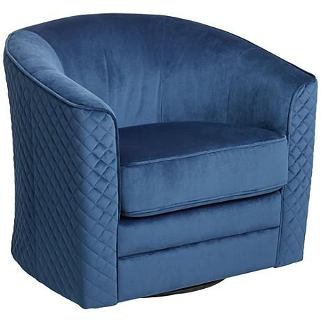 Navy blue fabric wraps around this swivel club chair for a pop of color.