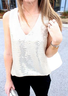 Chicago! Stitch Fix December Sequin Blouse:  Skies Are Blue Simmaron Blouse.  This is good in sleeveless.