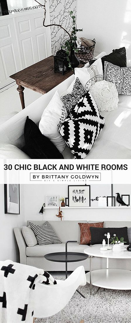 Need some decor inspiration? Check out these 30 rooms with high contrast black and white color palettes!