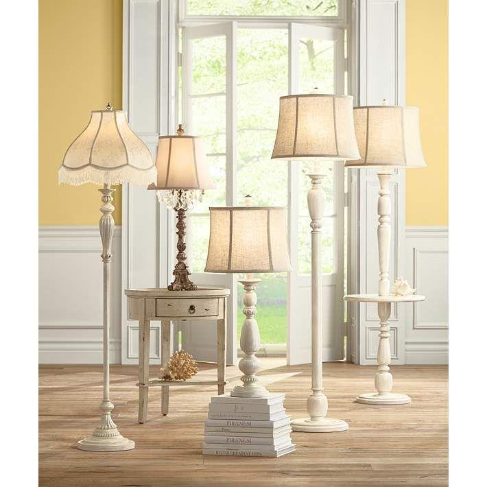 Cream Scallop Vintage Chic Antique White Floor Lamp with Fringe - #X2730-28195   Lamps Plus