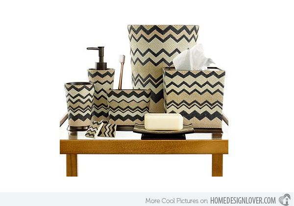 Chev beige bath accessory sets http://www.jambic.com/7-eye-catching-bath-accessory-sets/