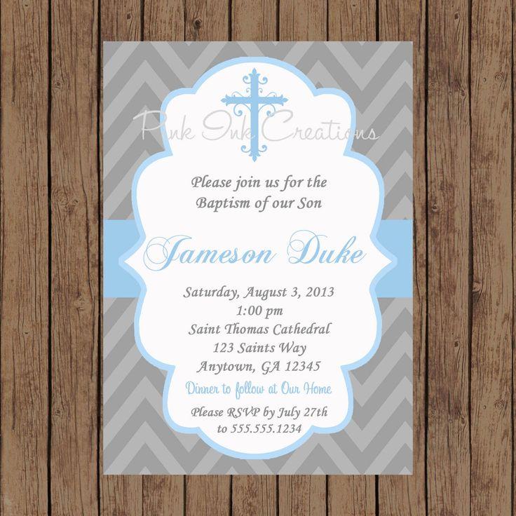 Boys Baptism Invitation  CHEVRON Baby by PinkInkCreation on Etsy, $12.00