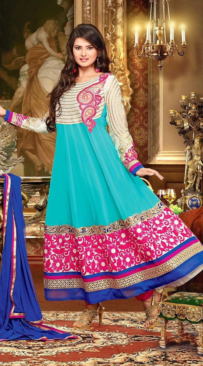 Sky Blue Georgette Kratika Sengar Tv Actress Salwar Kameez