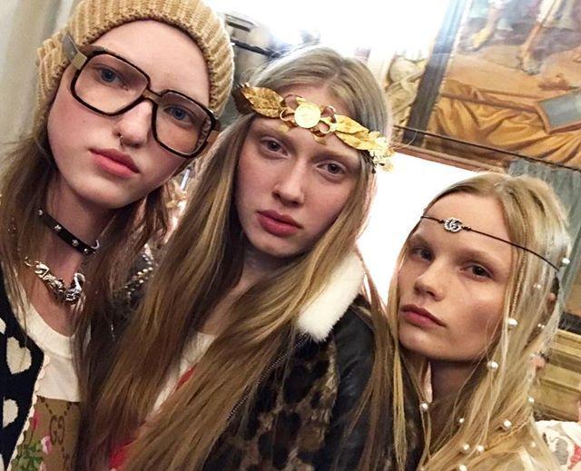 Natural glowing look and boho vibes at #GucciCruise18./ Хиппи-шик: жемчуг в волосах повязки на голову и массивные золотые венки красовались на моделях @OstLiza @Maryna_Polkanova и @Polina_Oganicheva на круизном показе @Gucci во Флоренции.  via VOGUE RUSSIA MAGAZINE OFFICIAL INSTAGRAM - Fashion Campaigns  Haute Couture  Advertising  Editorial Photography  Magazine Cover Designs  Supermodels  Runway Models