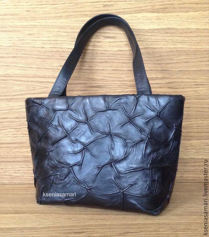 Купить Сумка из натуральной кожи - чёрный, однотонный, сумка, сумка ручной работы, сумка женская