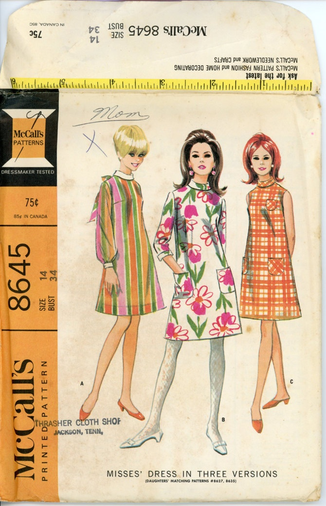 1960s Shift Dress Pattern McCalls 8645 Misses Mod Shift Dress Bias Collar Day or…