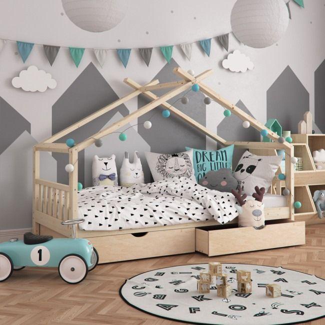 Lit Montessori Pour Enfant 90x200 Cm 2 Tiroirs In 2020