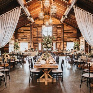 Reception barn set up for a wedding at @bigskybarn0697 | Nadine Berns Photography