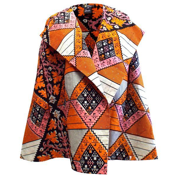 Sira African Print Cape (Orange/Pink)
