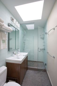 """The bathroom is 4'-9"""" x 9'-0"""" The shower is 4'-9"""" x 2'-8"""", Robern medicine cabinet, ansgrohe clubmaster showerheads- very reasonably priced with great water flow. The controls are by Grohe- they are the Atrio series.Ann Sacks glass tiles they have been discontinued- they crack!"""