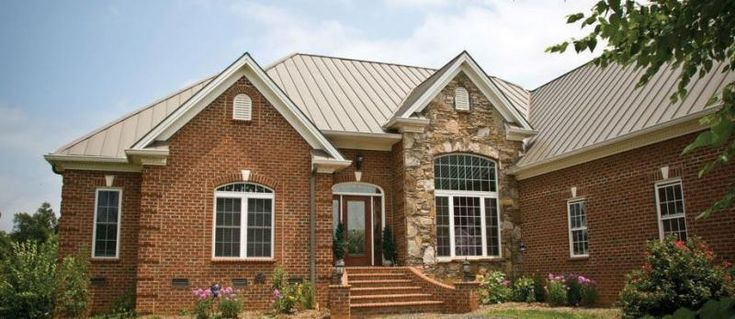Brick house with metal roof outdoors pinterest for Metal roof pictures brick house