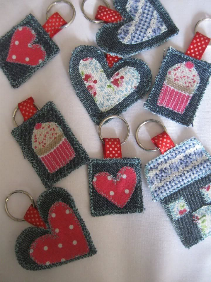 Scrap denim and fabric scrap keychains, could be made from felt.