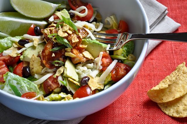 Barbecue Chicken Salad: Corn, Avocado, Black Beans, Green Onions, Tomatoes, Cheese, Tortilla Chips, Cilantro served with Ranch Dressing on RomaineBlack Beans, Ranch Dresses, Chicken Salads, Barbecues Chicken, Bbq Chicken, Summer Salad, Gingers Snap, California Pizza Kitchens, Green Onions