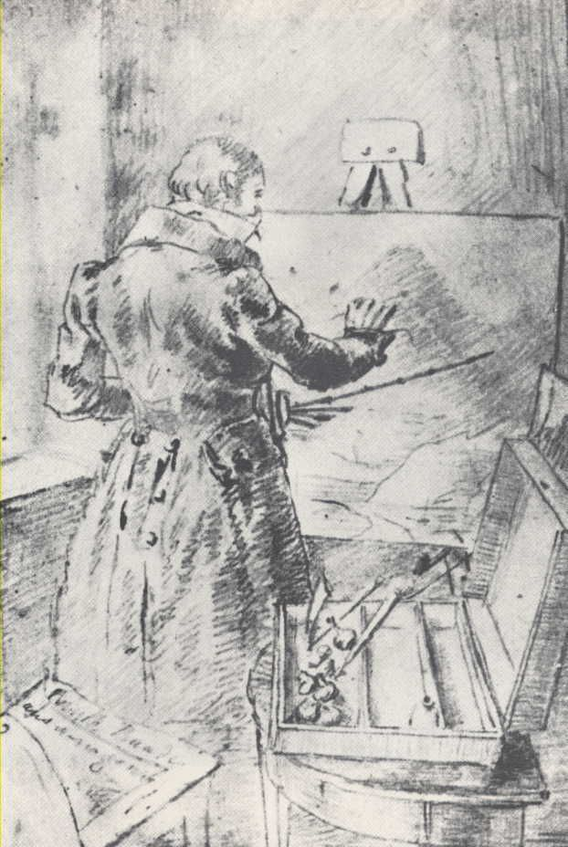 The Painter  Knud Baade ,at his easel ,drown by Caspar F. David