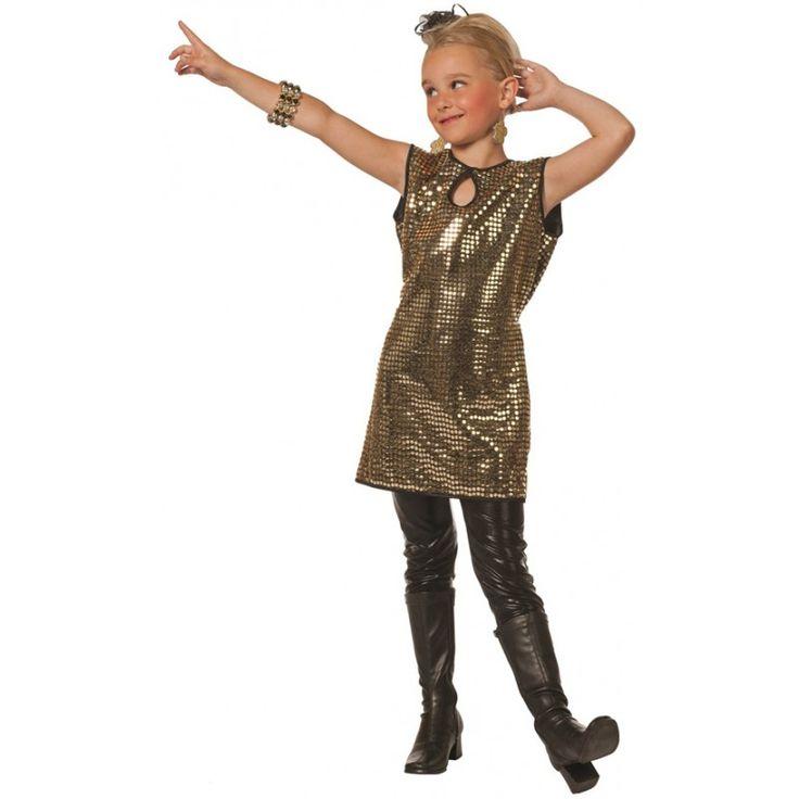 70er Disco Paillettenkleid gold für Kinder