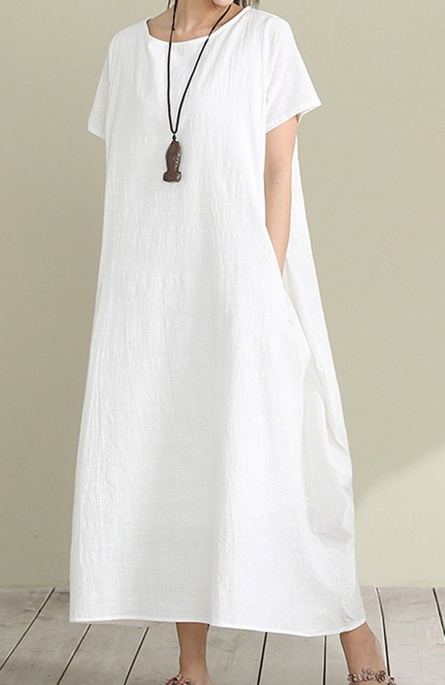 Women loose fit over plus size Bohemian dress long maxi white linen tunic pocket #Unbranded #dress #Casual