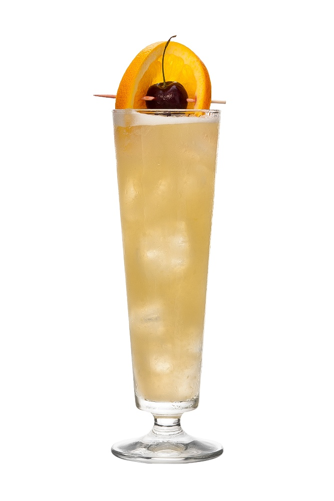 SINGAPORE SLING : INGREDIENTS -   2 shots Gin 1/2 shot Cherry brandy liqueur  1/4 shot Bénédictine D.O.M. liqueur  1/4 shot Triple sec  1 1/2 shot pineapple juice  1/2 shot lime juice  1/4 shot Pomegranate syrup  2 dashes bitters  Top up with Soda Water  Garnish    Orange slice and cherry  INSTRUCTIONS - 1 Serve drink with all ingredients (except soda water) shaken with ice. 2 Strain into a glass of ice. 3 Top up with soda water, stir. HOW TO SERVE IT -   Sling glass  with orange slice…
