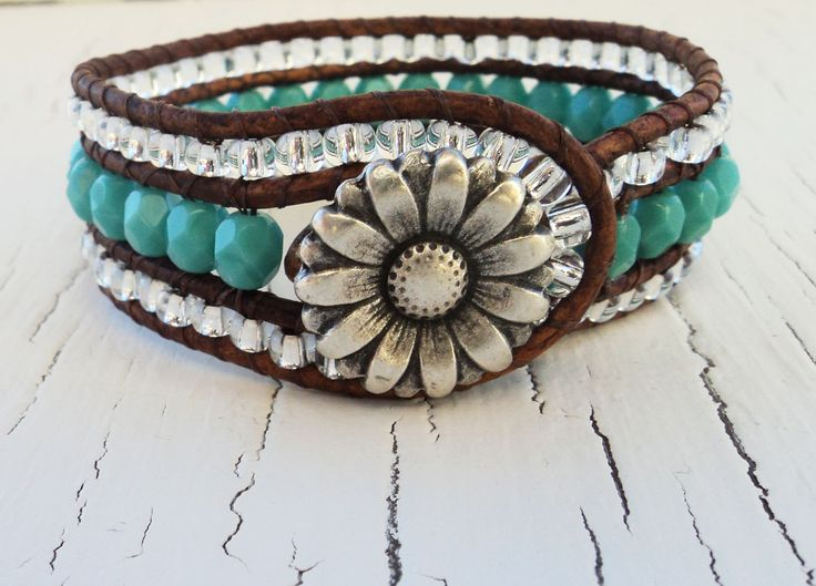 Turquoise Leather Cuff, Beaded Wrap Bracelet.