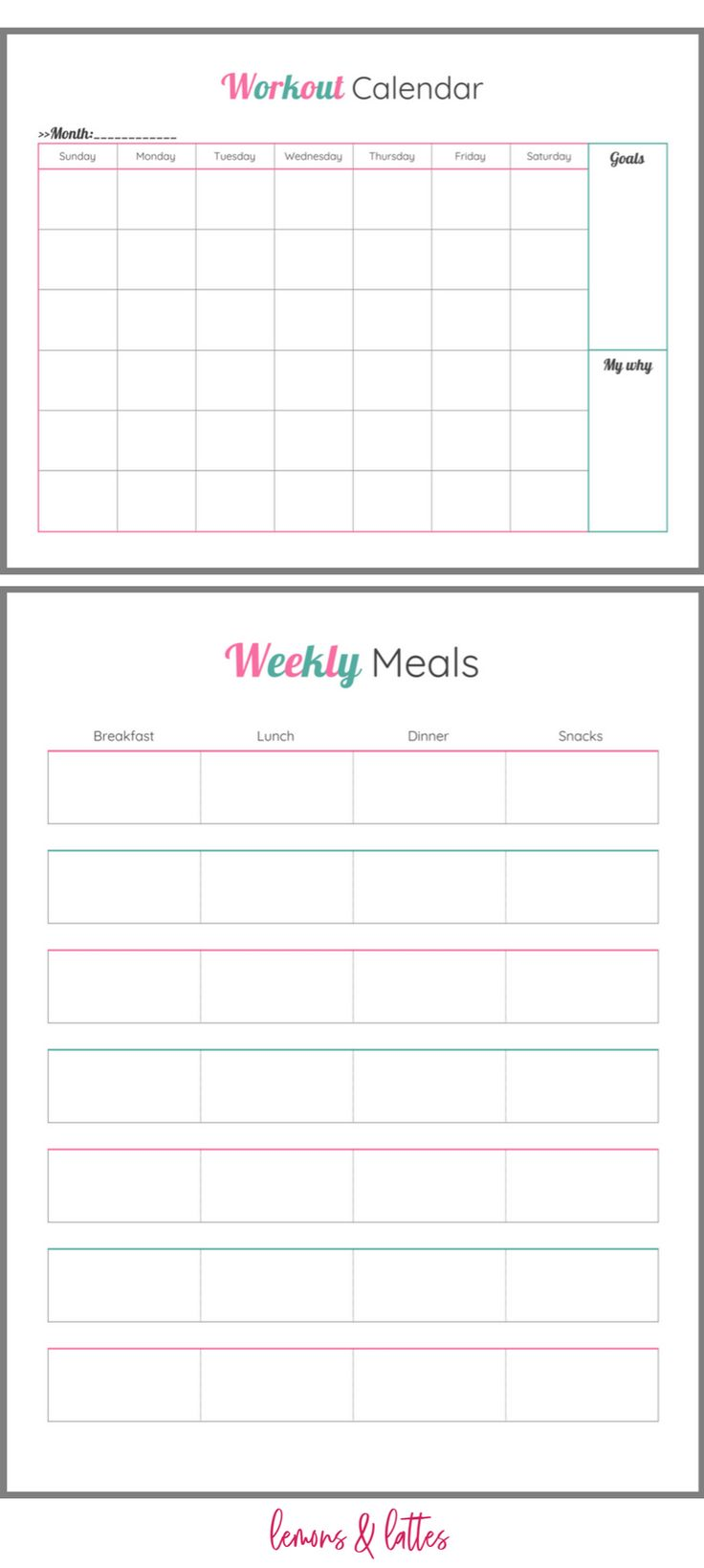 weekly meal planner sheet