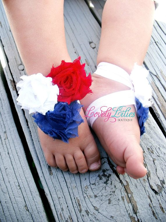 Baby Barefoot Sandals .. Red, White and Blue Flowers .. Toddler Sandals .. Newborn Sandals on Etsy, $6.50