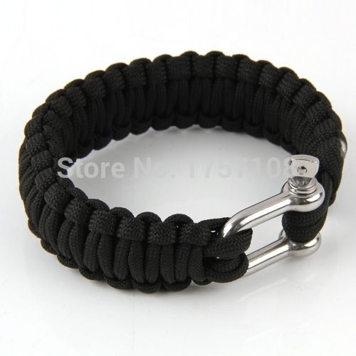 Sobrevivência Paracord pulseiras com materiais de aço inoxidável manilha fivela de boa qualidade pulseira Design original(China (Mainland))