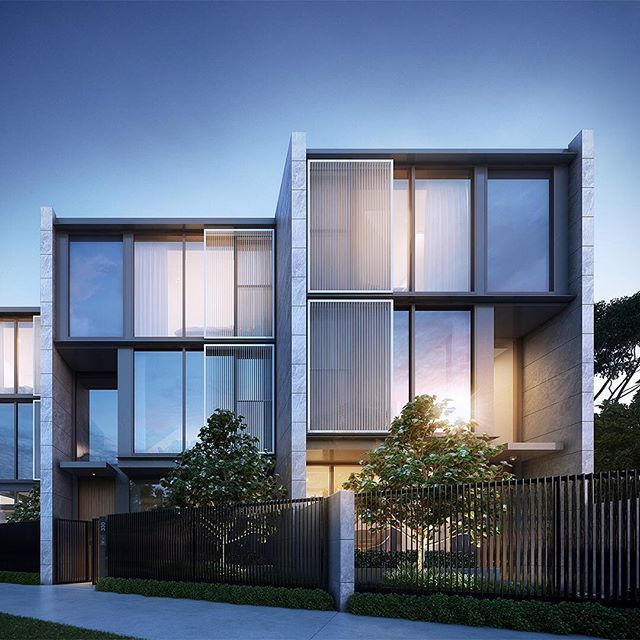 Parkville by Oliver Hume, a selection of 20 townhouses designed by DKO. The use of natural stone cladding evokes a sense of grandeur that stands proudly along Royal Parade. Paired with glass and bronze, the facades offer a restrained elegance. . . . . A collaboration with #OliverHumePropertyFunds ; Render by @floodslicer  #parkvillebyoliverhume #luxury #terrace #townhouse #architecture #dkoarchitecture #render