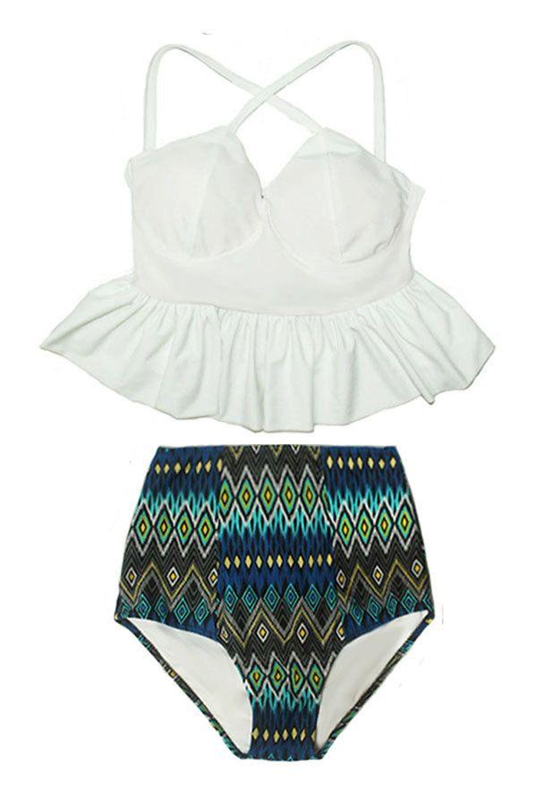 White Long Peplum X Cross Strap Top and Aztec Tribal Tribute High waist waisted Bottom Pinup Swimsuit Swimwear Bikini Bathing suit S M L XL by venderstore on Etsy