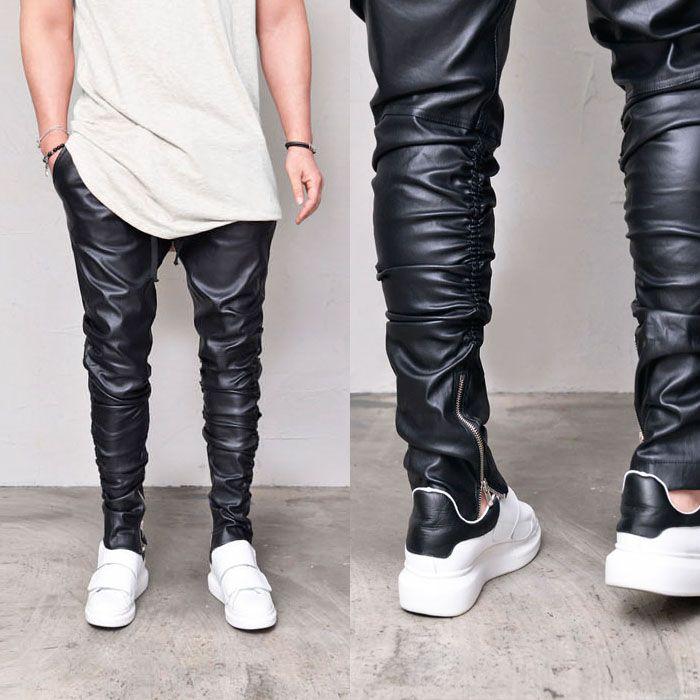 Leather Zipper Shirring Banding-Pants 289 - GUYLOOK