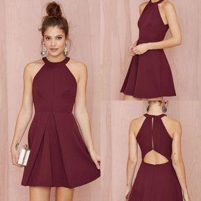 Aliexpress.com Comprar Sexy borgoña vestidos fiesta Mini vestidos cóctel 2016 verano sin mangas