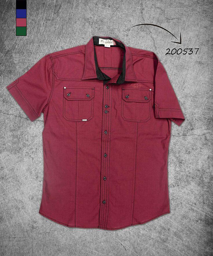 camisa-hombre-manga-corta-color vono-tinto-men-shirt-short-sleve-wine-color-200537