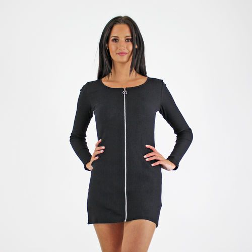 Glamorous Black Cotton Ribbed Long Sleeve Short Dress With Silver Zip Detail Available Instore And Online www.pinkcadillac.co.uk