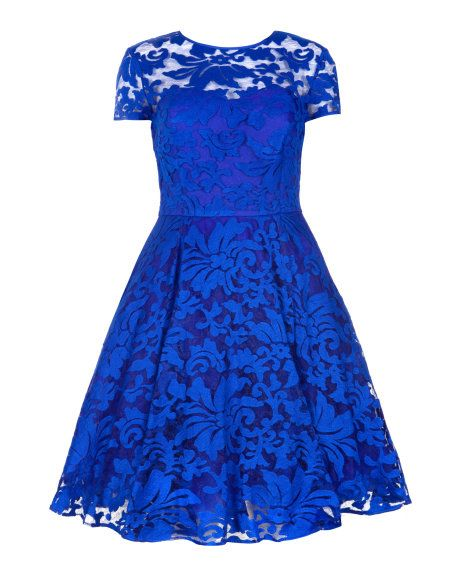 Sheer floral dress - Bright Blue   Dresses   Ted Baker
