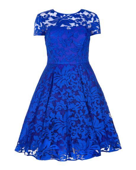 Sheer floral dress - Bright Blue | Dresses | Ted Baker